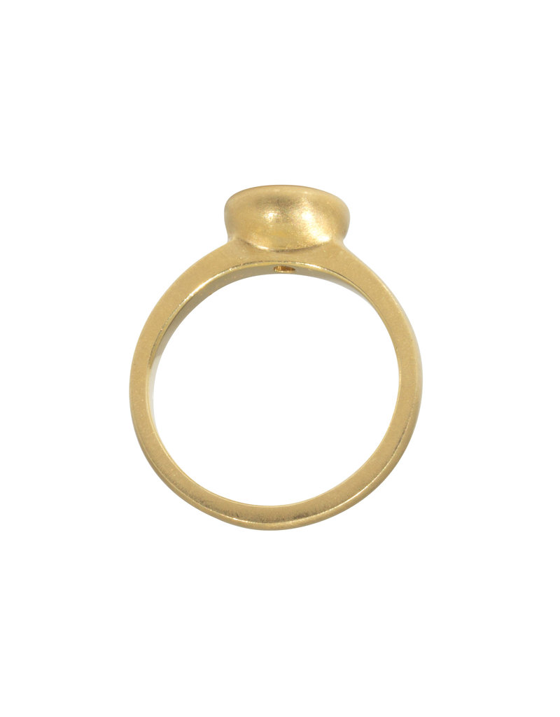 Raised Cup Solitaire with Pale Yellow / White  Brilliant Cut Sapphire in 18k Yellow Gold