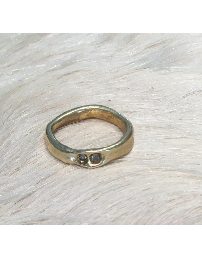 Double White Sapphire Ring in Brass