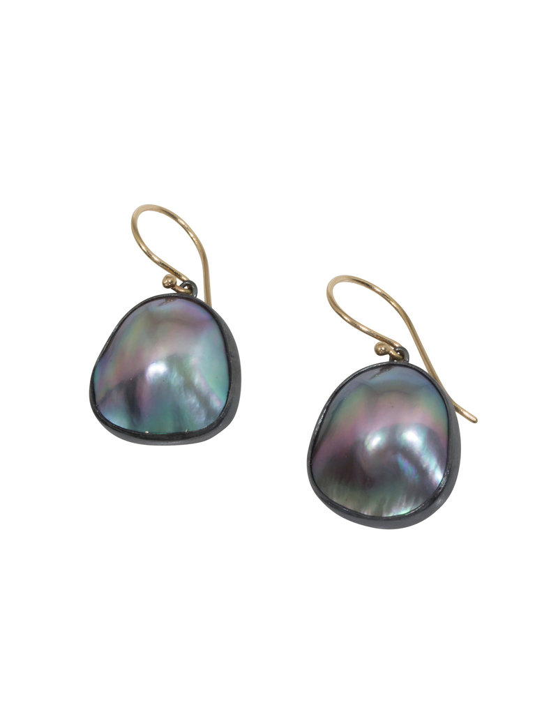 Organic Shaped Mabe Pearl Earrings in Oxidized Silver with 14k Gold Earwires