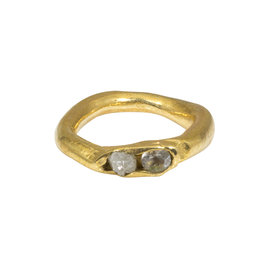 Patricia Ring with White Sapphire and Raw Diamond in Brass