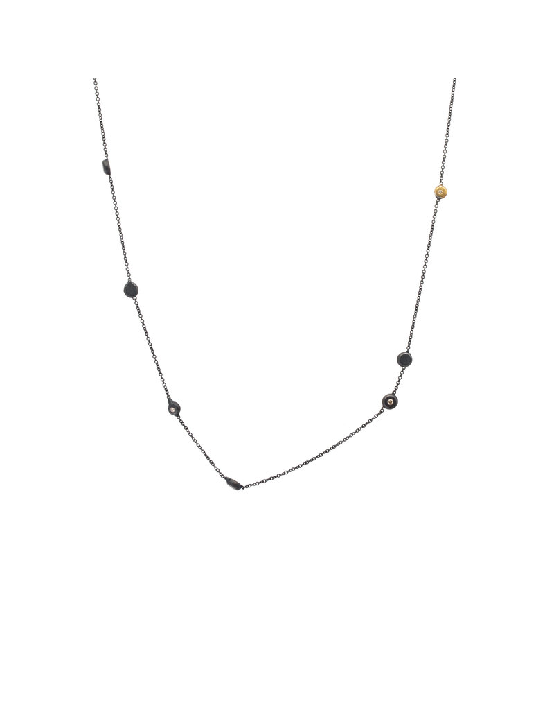 Short Delicate Koburi Chain Necklace with 1 Gold Dot and 2 Diamonds in Oxidized Silver