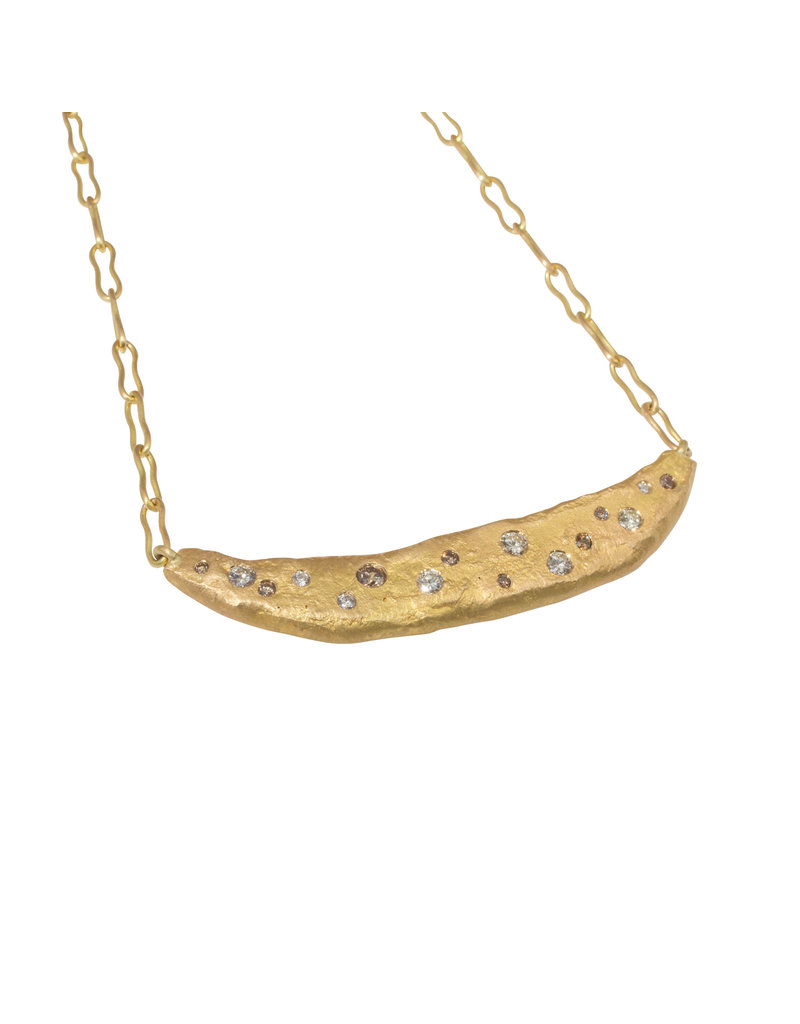 CUSTOM Bar Necklace in 18k Gold with White and Cognac Diamonds