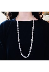 Matte Quartz Bead Necklace with Silver Toggle Clasp