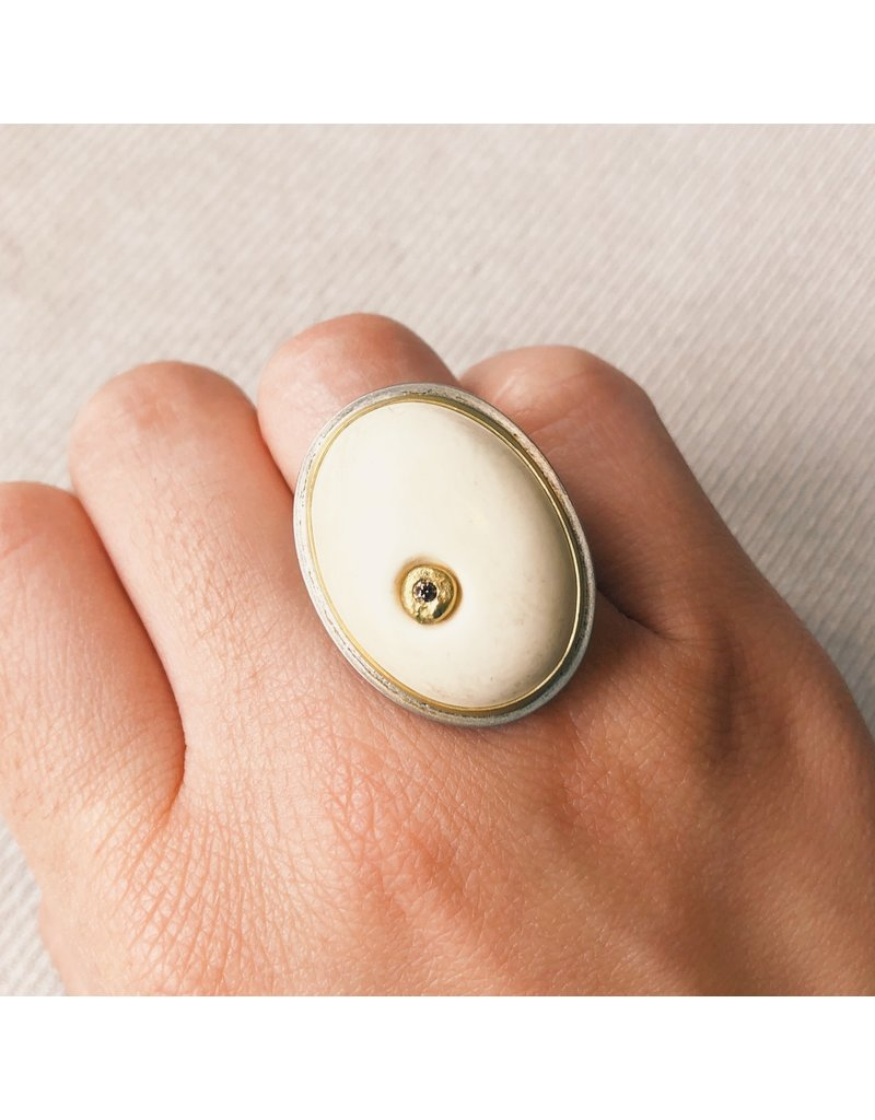Oval Fossil Walrus Bone Ring with Cognac Diamond in 22k Gold and Silver
