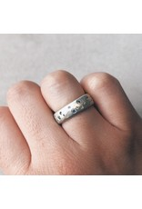 Celestial Ring in Brushed Silver with Grey Sapphires