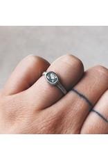 Oval Diamond Slice Ring in Silver