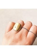 Bronze Box Ring with White Diamond