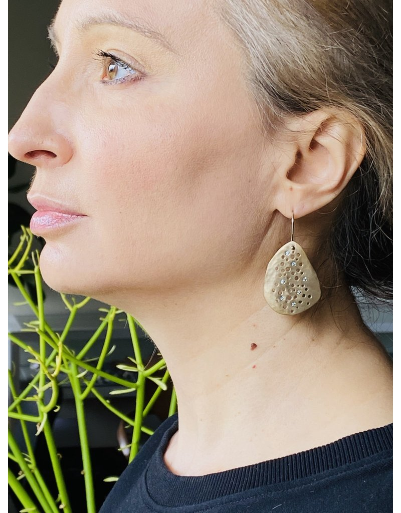 Large Multi Hole Earrings in Ancient Bronze with 14 Grey/Green Sapphires on Silver Wires