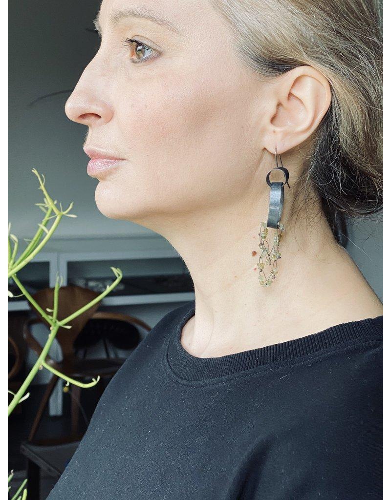Green Garnet Double Hoop Earrings