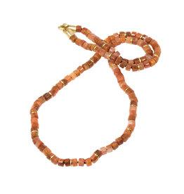 Red Hematoid Quartz Necklace with Bronze Clasp and Brass Discs