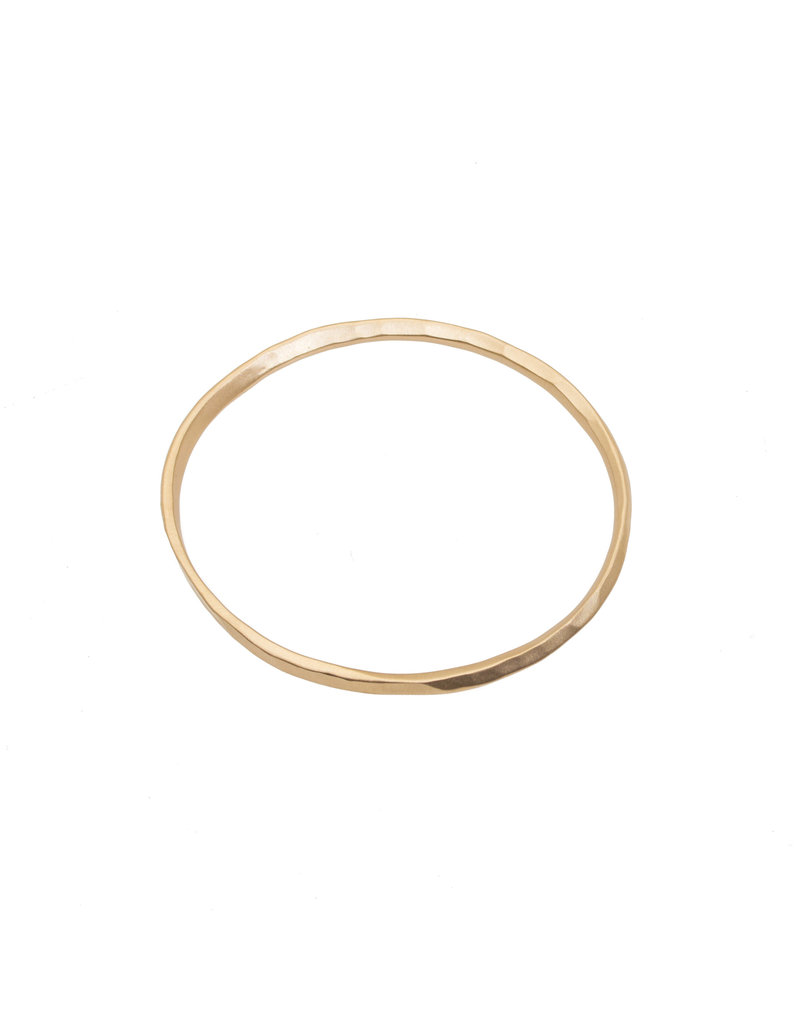 Oval Hammered Twist Bangle in 18k Rose Yellow Gold