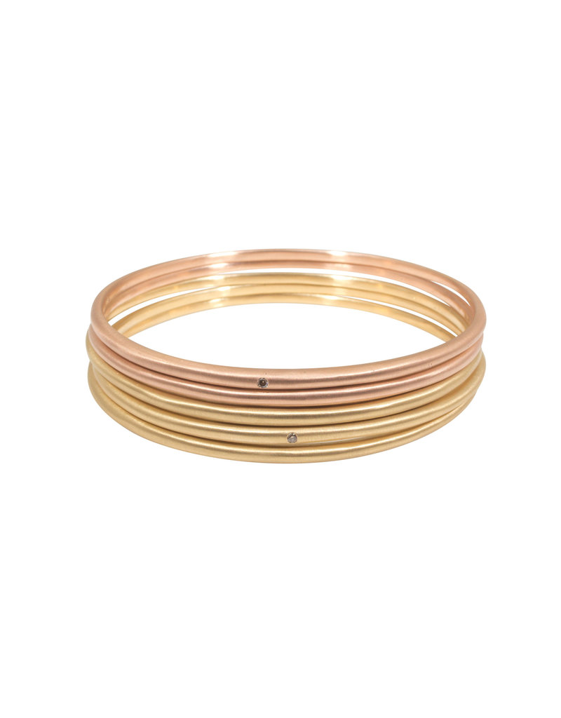 Delicate Tapered Bangle in 18k Rose Gold with Light Cognac Diamond