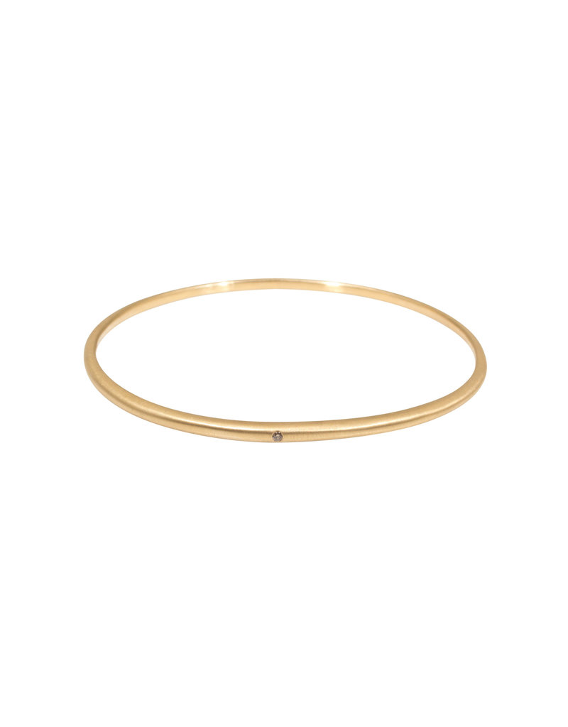 Delicate Tapered Bangle in 18k Rose Yellow Gold with Light Cognac Diamond