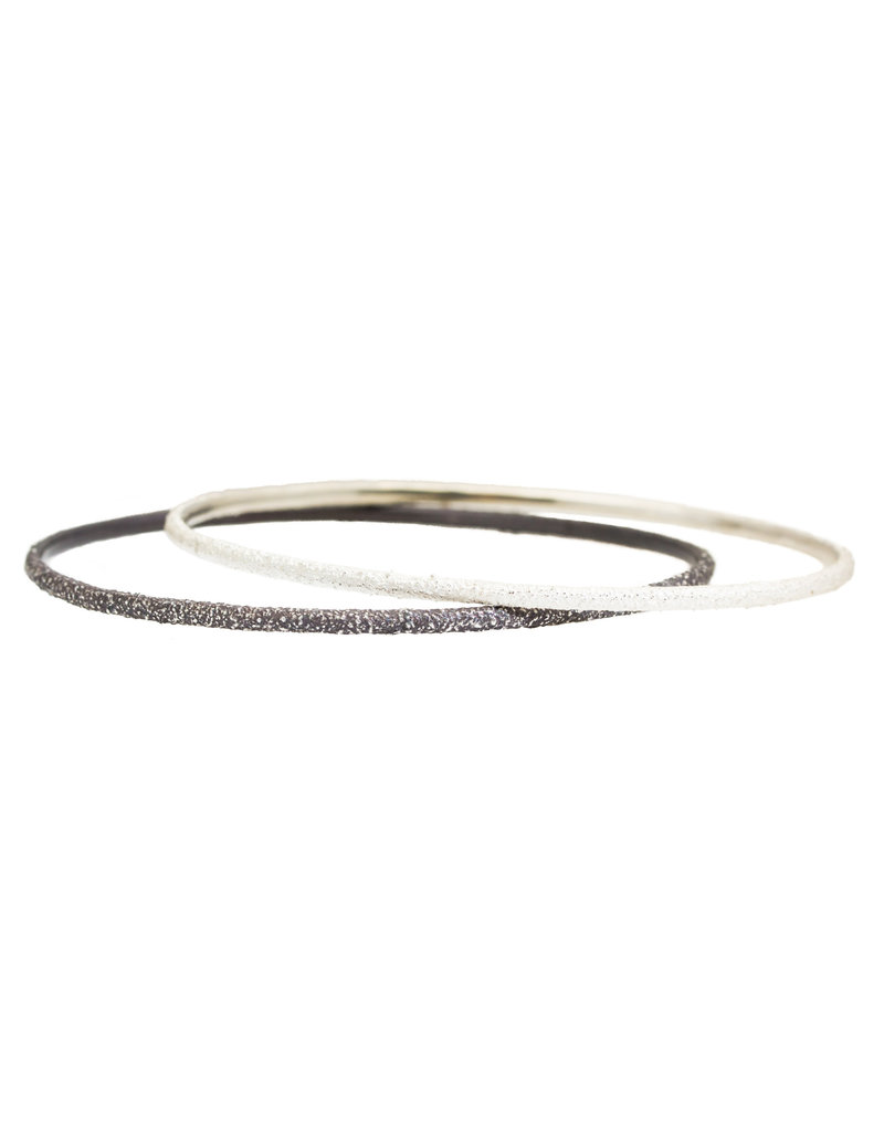 Round Sand Bangle in Oxidized Silver