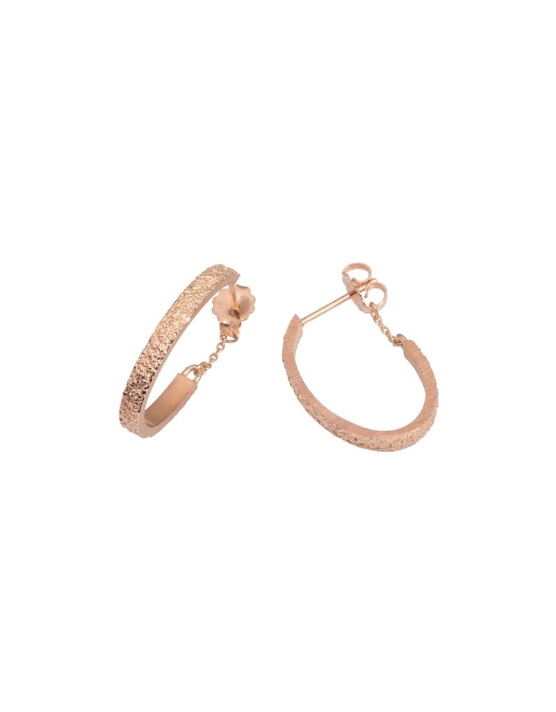 Small Oval Sand Hoop Earrings in 14k Rose Gold