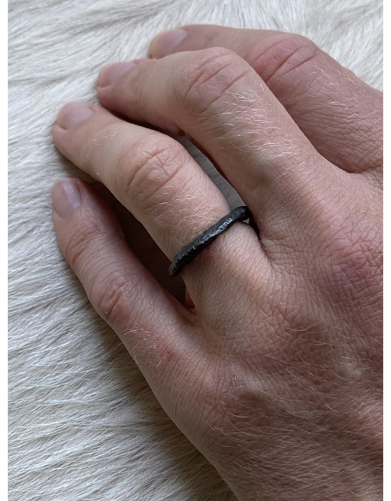 Brandon Holschuh Simple Fused Band in Oxidized Silver