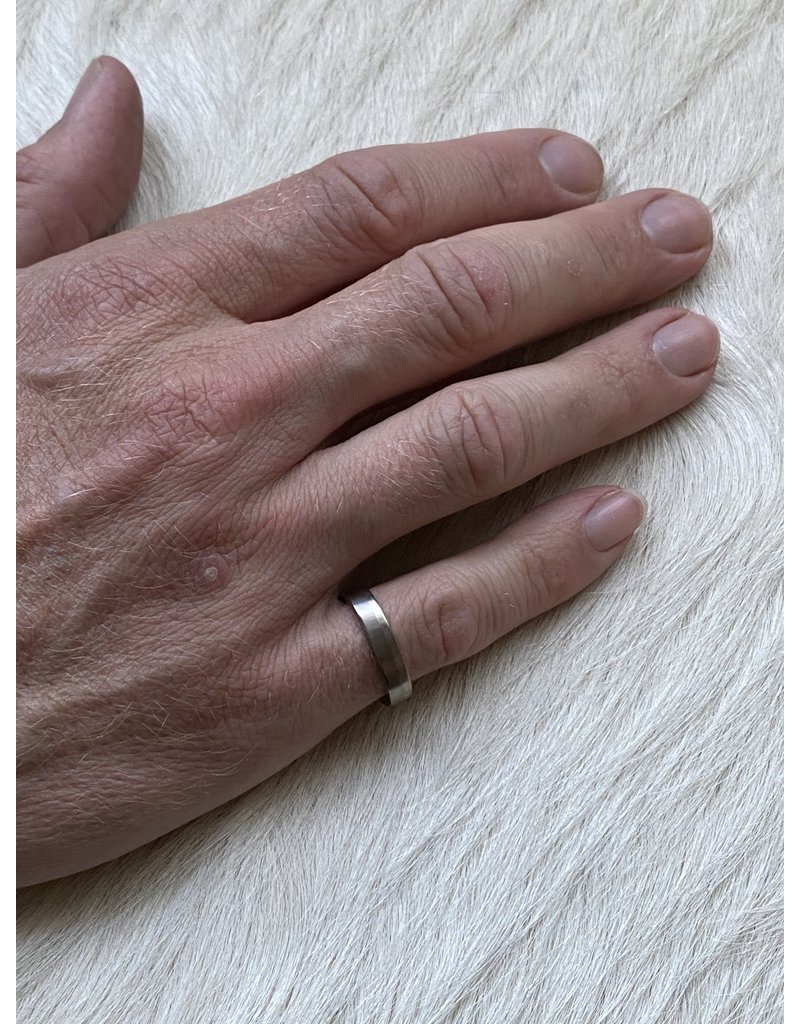 4mm Finger Shaped  Band in Titanium with Off Center Palladium Inlay