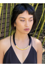 Gabriel Necklace with Black Horse Hair and Gold Plated Beads