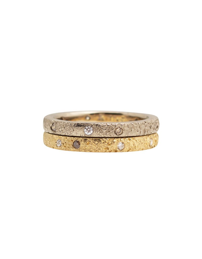 2.5mm Topography Band with White & Cognac Diamonds in 14k Yellow Gold