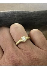 Scooped Prong Set Old European Cut Cushion Diamond in 18k Yellow Gold