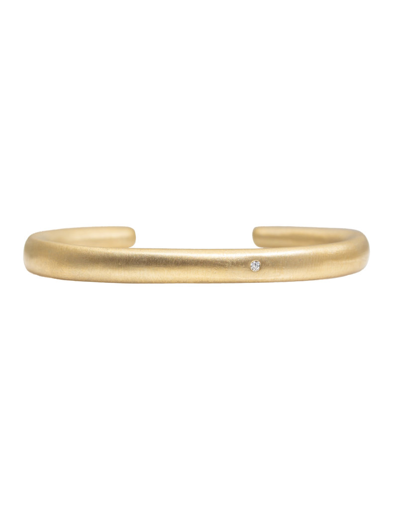 Plain Cuff in Golden Bronze with One White Diamond