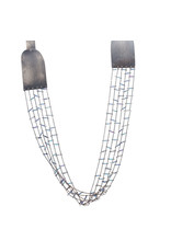 Grid Necklace in Oxidized SIlver with Blue Round and Long Beads