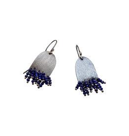 Half Oval Lapis Earrings in Oxidized Silver