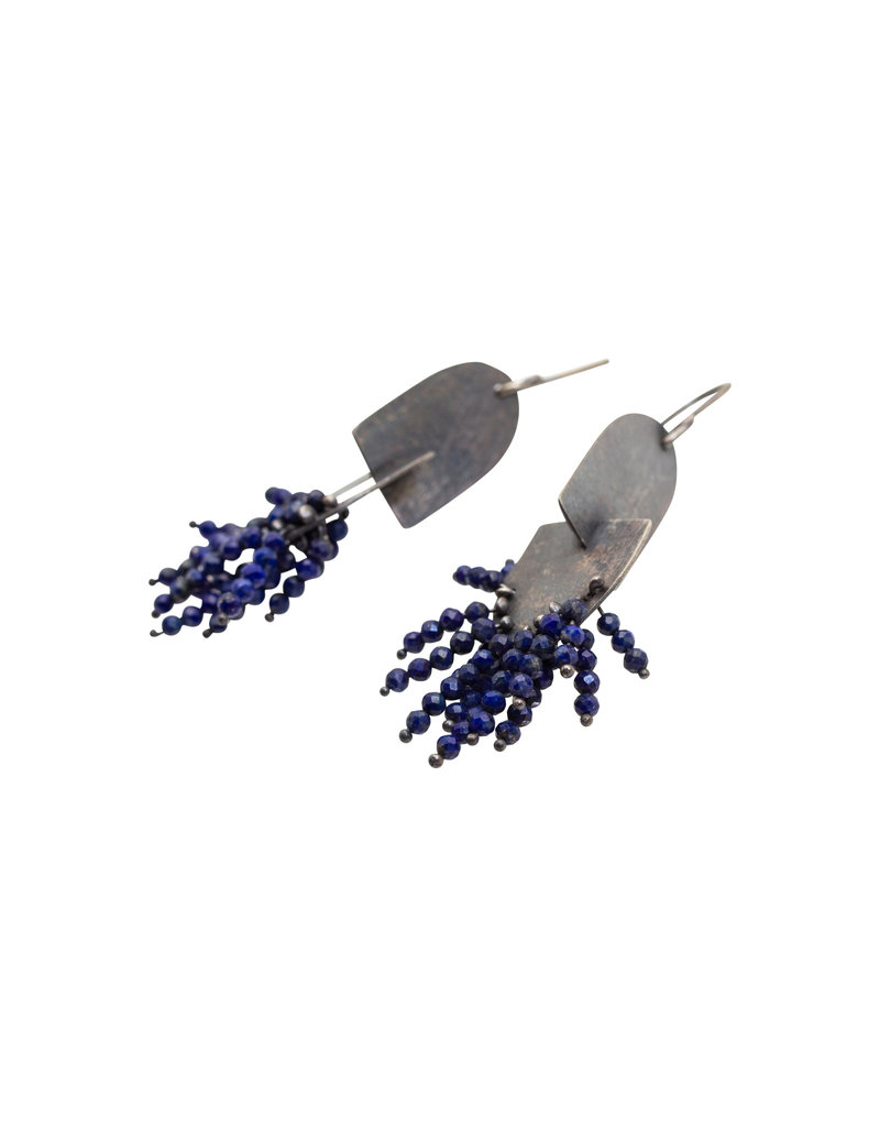 Double Oval Lapis Earrings in Oxidized Silver