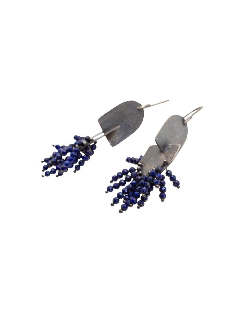 Double Oval Lapis Earrings in Oxidized Silver