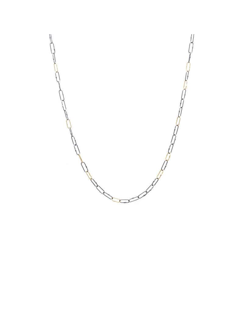 """Short Links Chain in Oxidized Silver with 6 Spaced Gold Links - 20"""""""