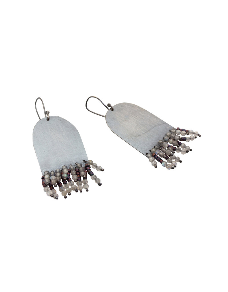 Half Oval Earrings with Moonstone and Glass Beads in Oxidized Silver