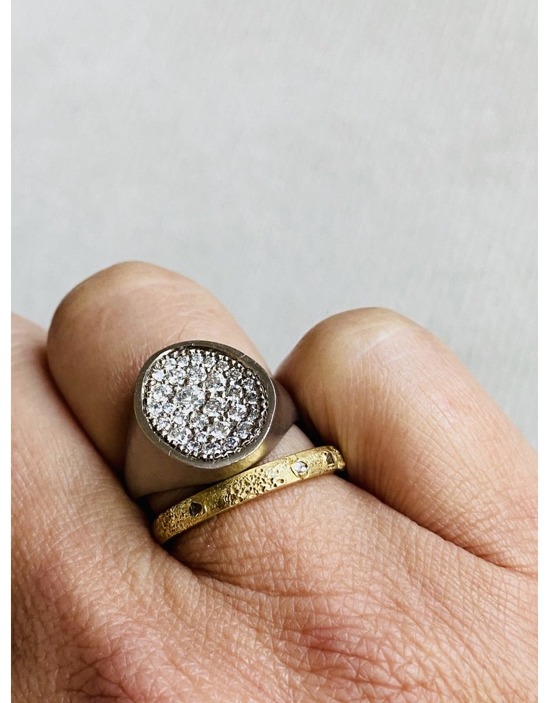 Organic Shaped Pave Signet Ring with White Diamonds in 18k Palladium White Gold