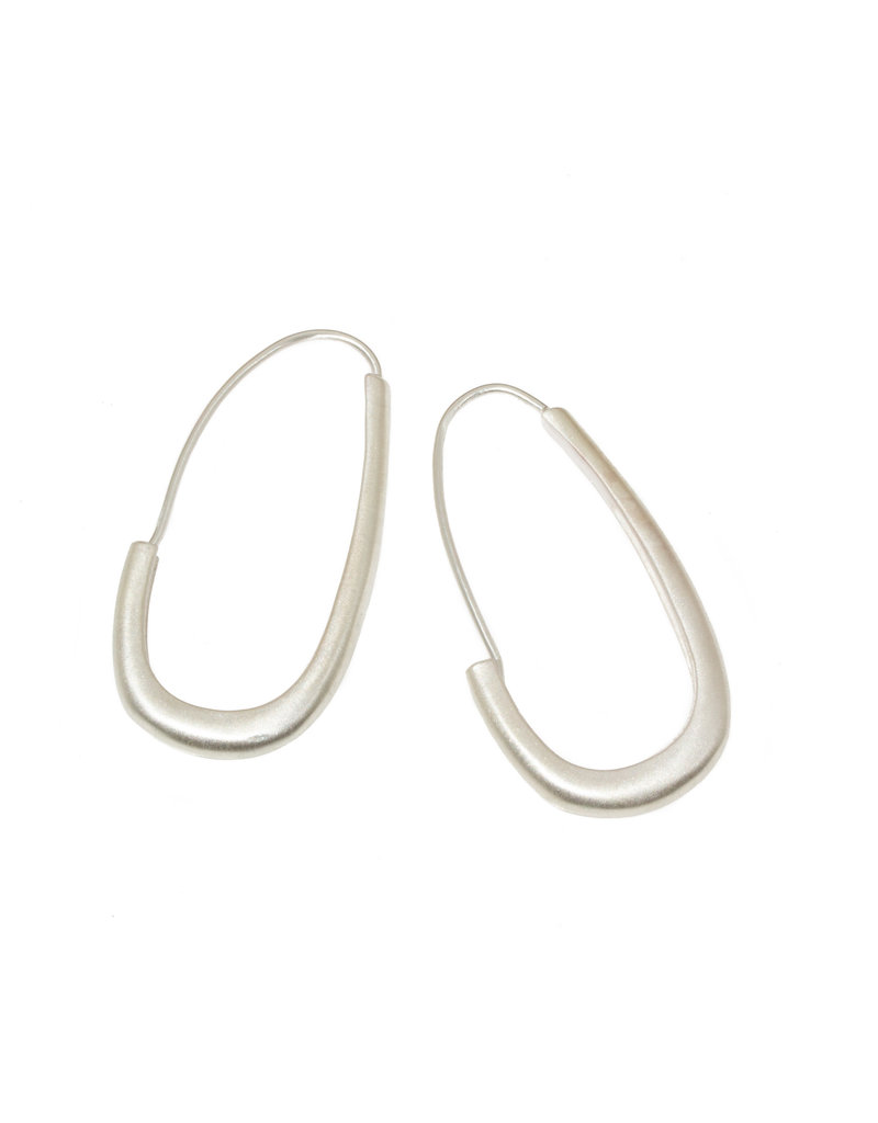 Oval Katachi Hoops in Silver