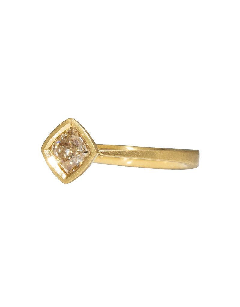 Rounded Square Diamond Solitaire Ring in 18k Yellow Gold
