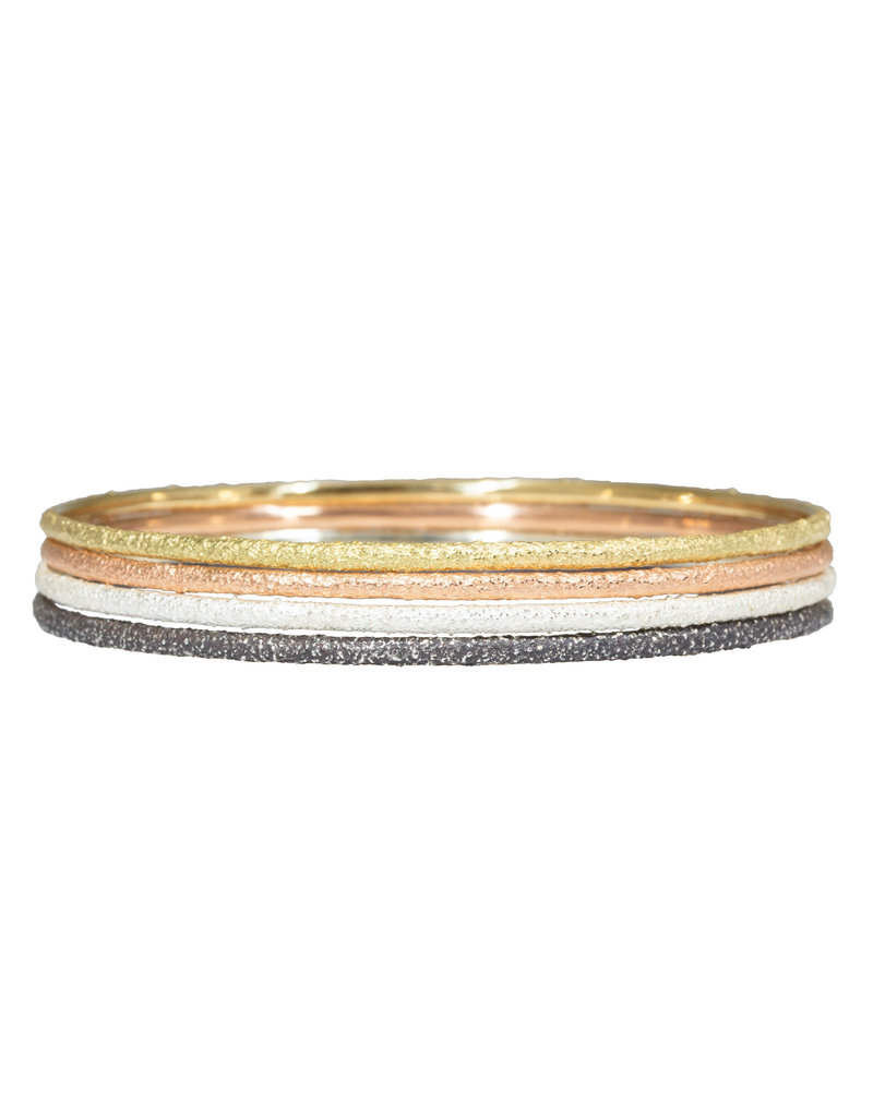 Round Sand Bangle in Silver