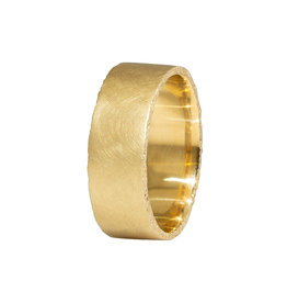 Wide Sand Edge Band in 18k Yellow Gold