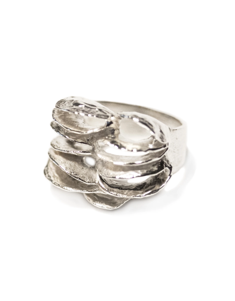 Half Banksia Lace Ring in Silver