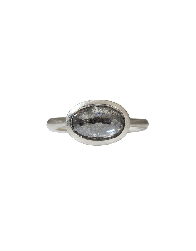 Oval Salt & Pepper Diamond Solitaire Ring in Platinum