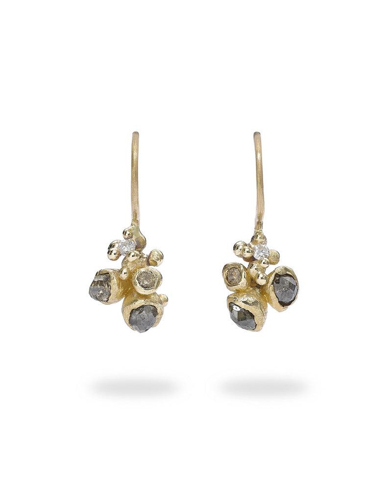 Champagne Diamond Cluster Drop Earrings in 14k Yellow Gold