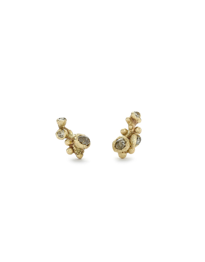 Champagne Diamond Cluster Post Earrings in 14k Yellow Gold