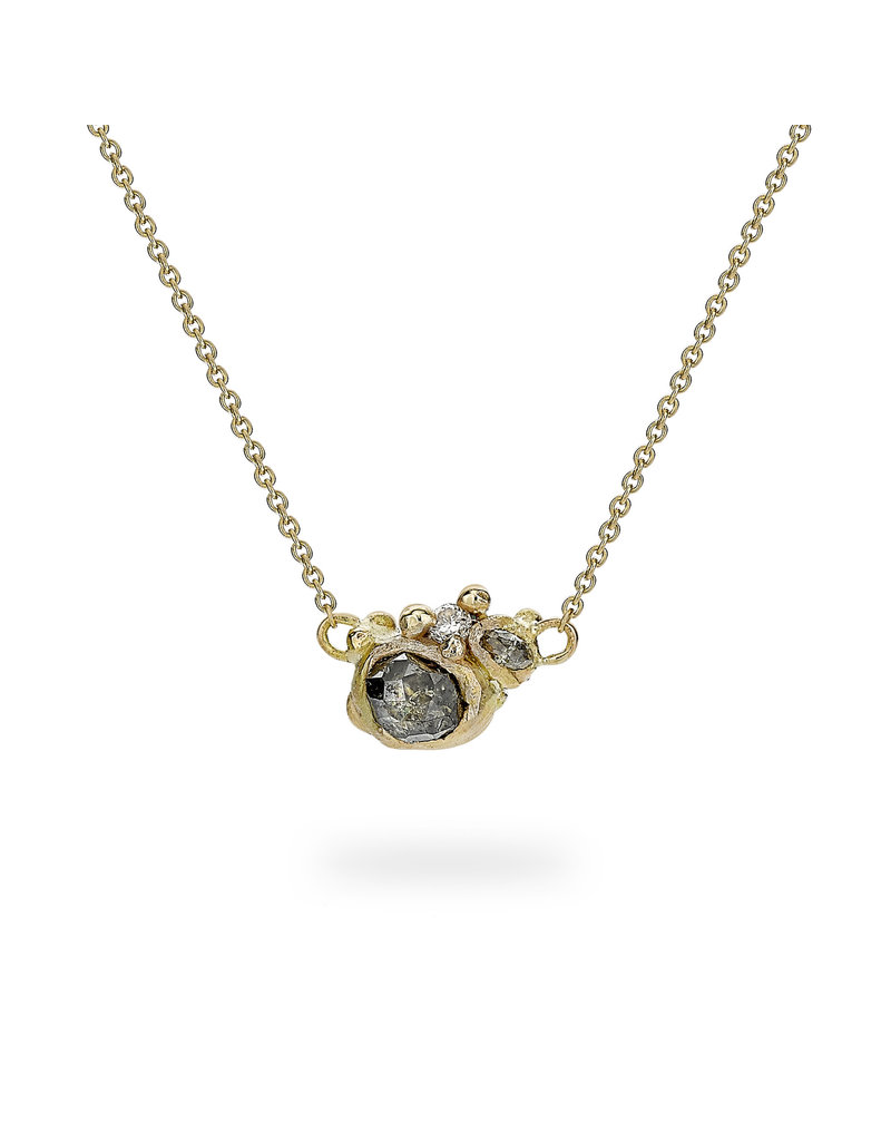 Champagne Diamond Cluster Necklace in 14k Yellow Gold