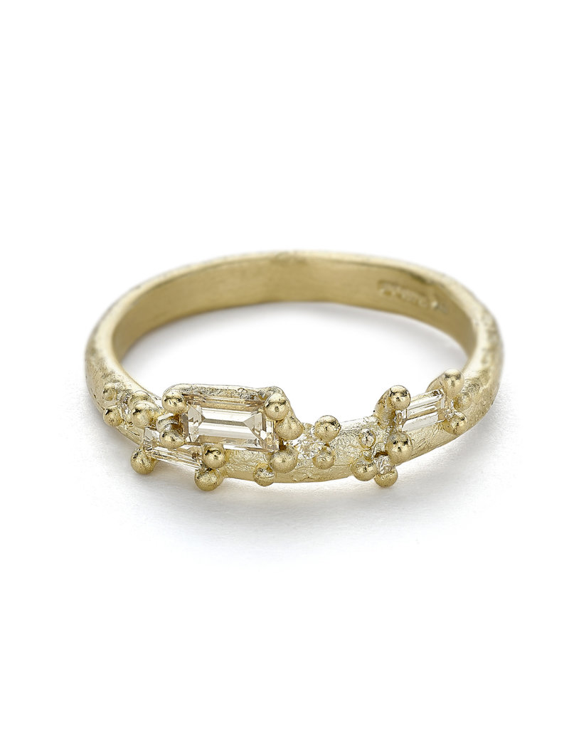 Half Round 14k Yellow Gold Band with Mixed Cut Diamonds