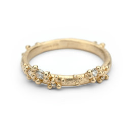Half Round Band with Diamonds and Granules in 14k Yellow Gold