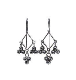 Hematite Cluster Earrings in Oxidized Silver