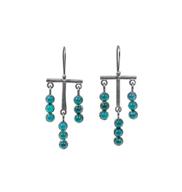 Green Onyx Bar Earrings in Oxidized Silver