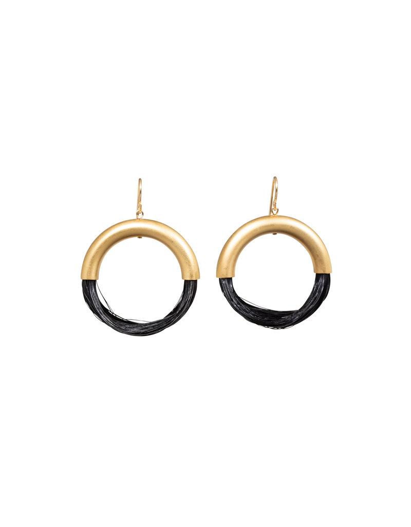 New Moon Black Horsehair Hoops Earrings