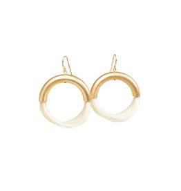 New Moon White Horsehair Hoops Earrings
