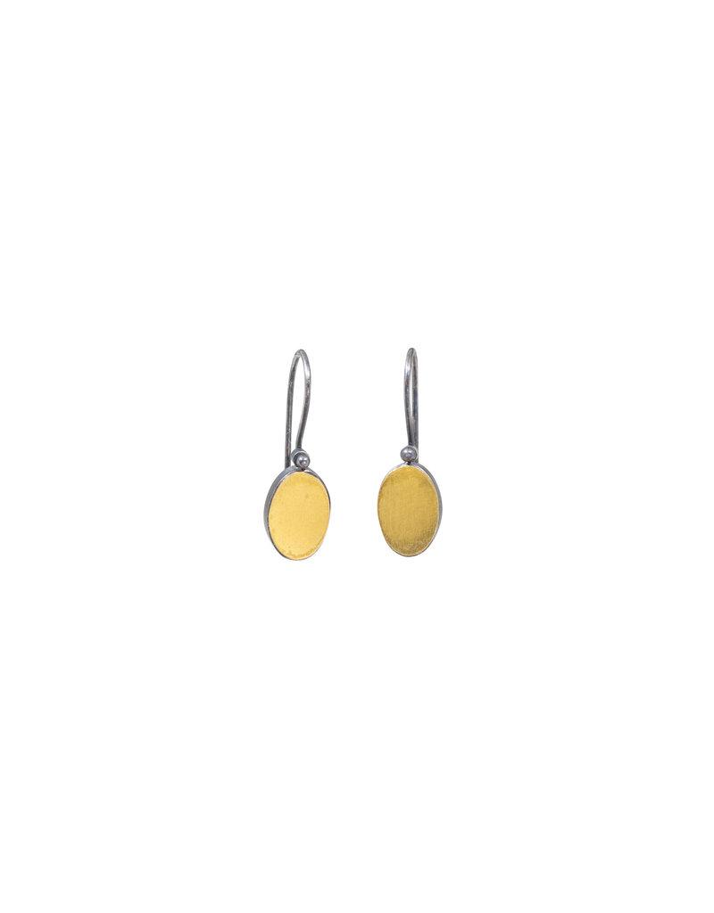Oval Drop Earrings in Oxidized Silver & 22k Gold Bi-metal