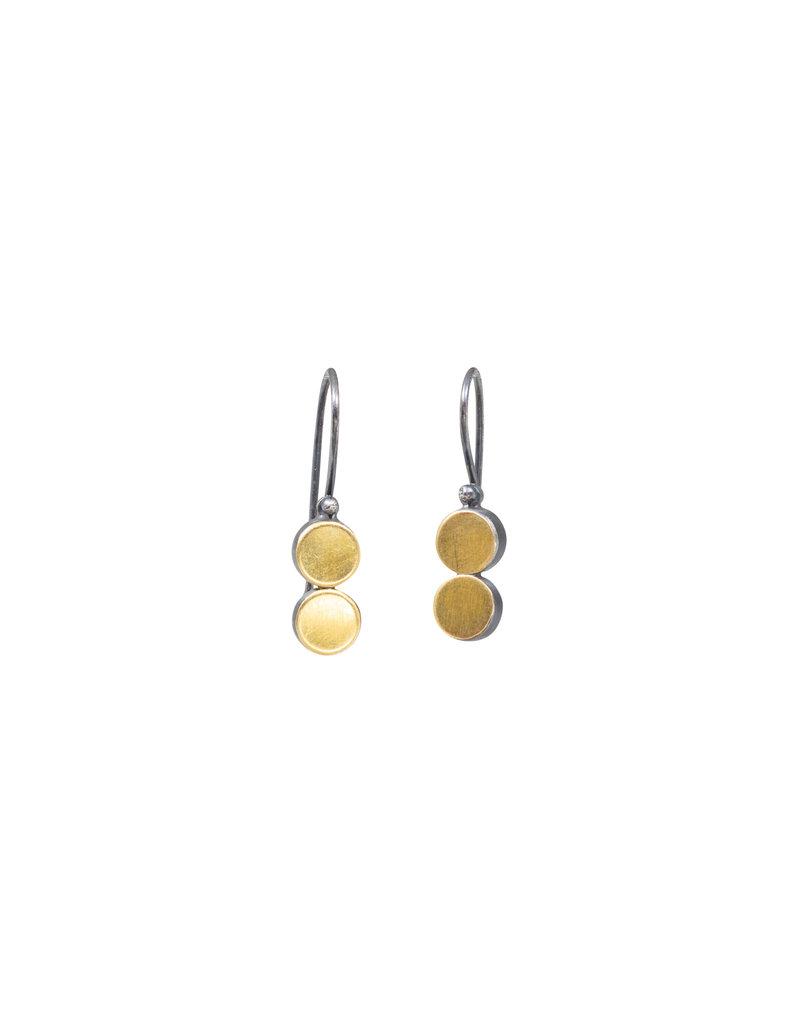 Double Dot Earrings in Oxidized Silver & 22k Gold Bi-Metal