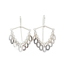 Oval Link Fringe Earrings in Brushed Silver